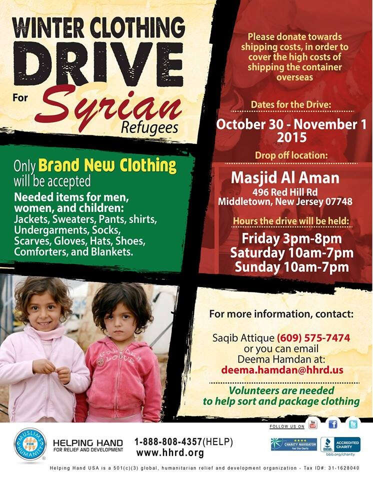 Winter Clothing Drive for Syrian Refugees - Event - Arab ...